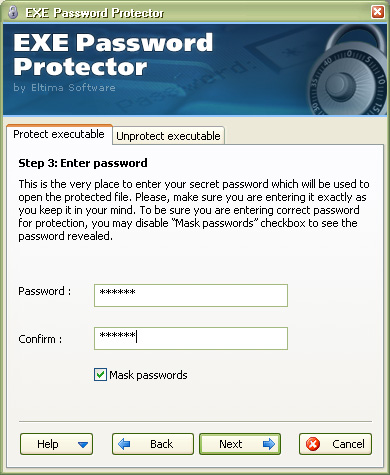 Eltima EXE Password Protector Screenshot