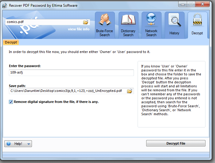 Eltima Recover PDF Password for Windows Screenshot