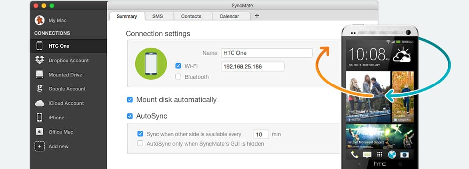 Sync data between your HTC and Mac in a few clicks