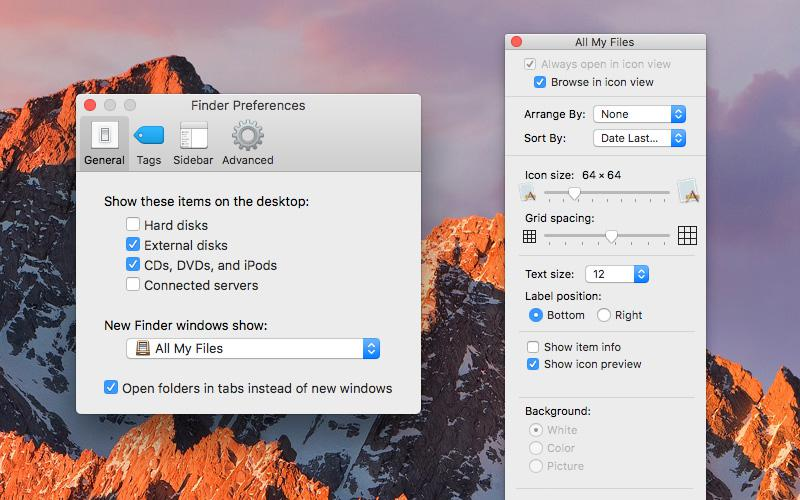 Finder Preferences and viewing options