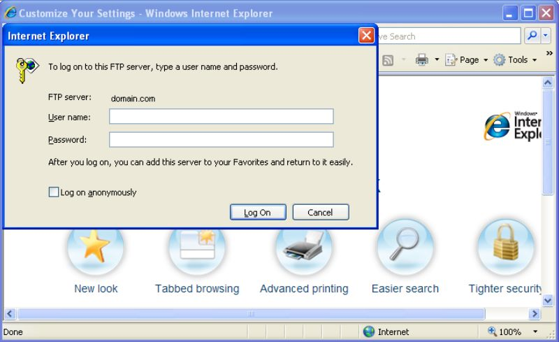 how to upload files to ftp in internet explorer