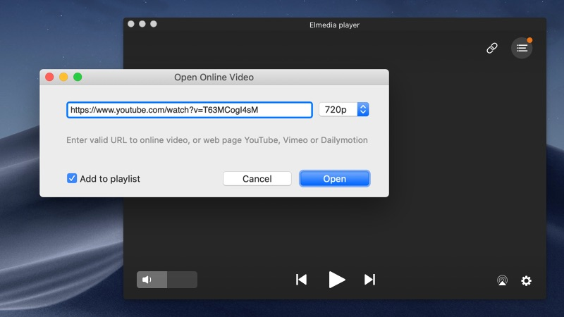 Open the YouTube video in Open Online Video section