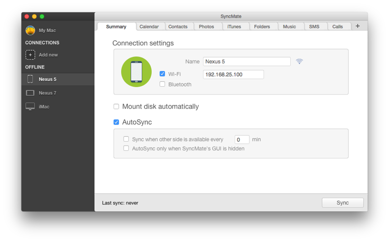 Sync data between Mac and Android automatically