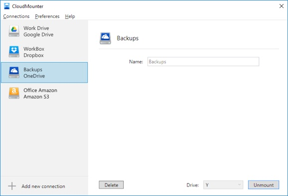 CloudMounter OneDrive connection menu
