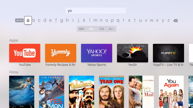 Typeeto Apple TV search screen